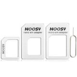 4 in 1  (Nano SIM to Micro SIM Card+ Micro SIM to Standard Card + Nano SIM to Standard Card + Sim Card Tray Holder Eject Pin Key Tool) Kit for iPhone 5 / iPhone 4 & 4S (White)