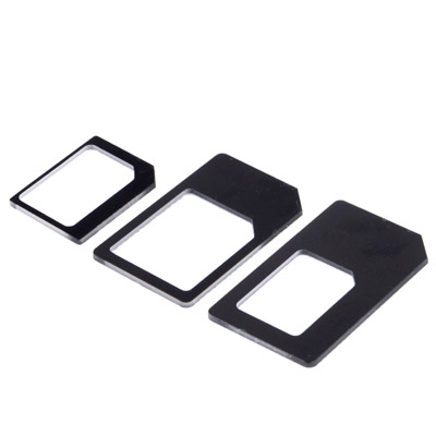 4 in 1  (Nano SIM to Micro SIM Card+ Micro SIM to Standard Card + Nano SIM to Standard Card + Sim Card Tray Holder Eject Pin Key Tool) Kit for iPhone 5 / iPhone 4 & 4S (Black)