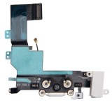 High Quality Version Tail Connector Charger Flex Cable + Headphone Audio Jack Ribbon Flex Cable for iPhone 5S (White)