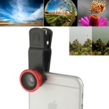 F-018 5 in 1 Universal 180 Degree Fisheye Lens + Marco Lens + 0.65X Wide Lens + CPL Lens + 2X Telephoto Lens with Clip, Suit for iPhone, Samsung, HTC (Red)