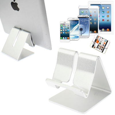 Aluminum Stand for New iPad  (iPad 3) / iPad 4 / iPad 2 / iPhone 5 / iPhone 4 / Samsung Galaxy Tab 2  (10.1) / P5100 / Galaxy Tab 2  (7.0) / P3100 / Galaxy Tab 7.0 Plus / P6200 / All Tablet PC / Other Mobile Phones  (Silver)