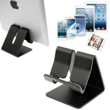 Aluminum Stand for New iPad  (iPad 3) / iPad 4 / iPad 2 / iPhone 5 / iPhone 4 / Samsung Galaxy Tab 2  (10.1) / P5100 / Galaxy Tab 2  (7.0) / P3100 / Galaxy Tab 7.0 Plus / P6200 / All Tablet PC / Other Mobile Phones  (Black)