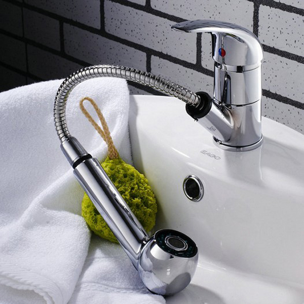 Chrome sink bath faucet spray head shower replacement head - Bathroom sink faucet with sprayer ...