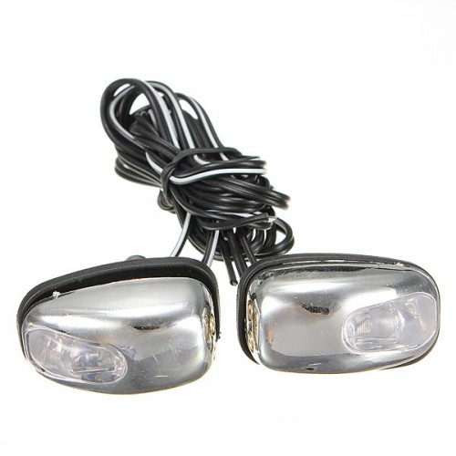 Chrome LED Light Lamp Windshield Jet Spray Nozzle Wiper Washer Eyes