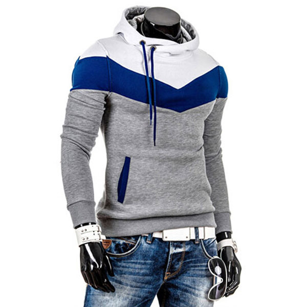 Men's Slim Fit Multi Colored Thick Fleece Hooded Pullover Sweater ...