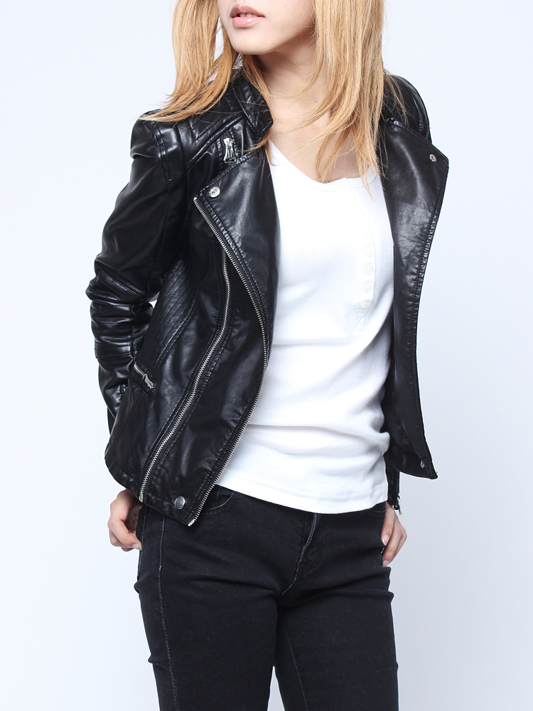 Women Hot Black Long Sleeve Zipper PU Crop Leather Jacket | Alex NLD