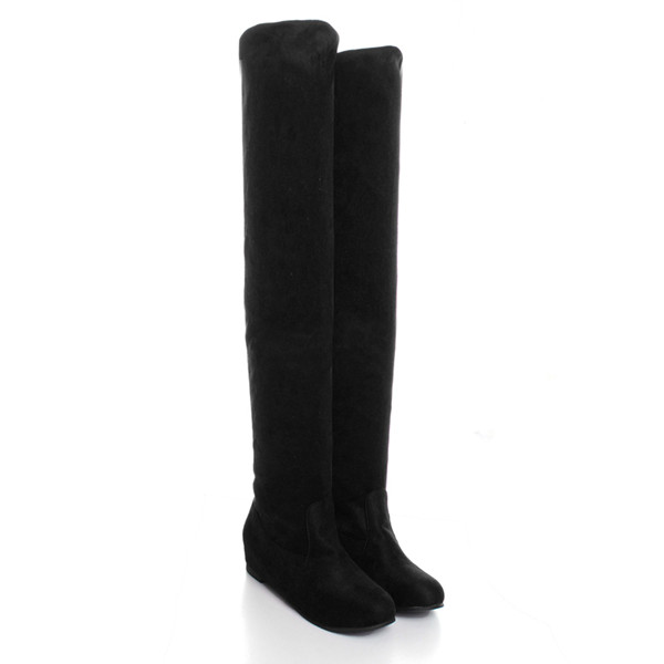 flat bottom boots shoes the knee high suede