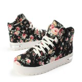 Women Girls High-Top Lace Up Sneakers Floral Canvas Platform Shoes