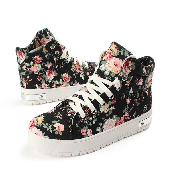 e55f2cdffc5 Women Girls High-Top Lace Up Sneakers Floral Canvas Platform Shoes ...
