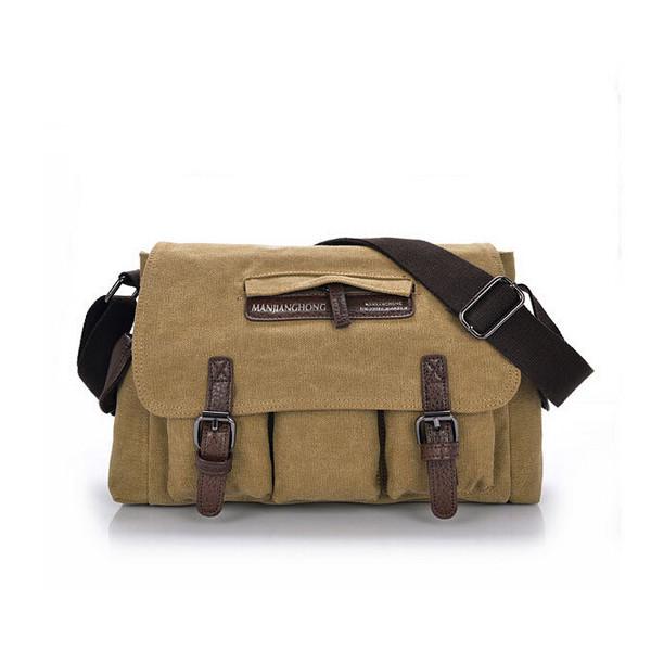 b8b799f0ea Mens Vintage Canvas Messenger Bag Travel Single Shoulder Bag ...