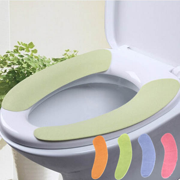 1 Pair Soft Bathroom Toilet Seat Cover Washable Closestool