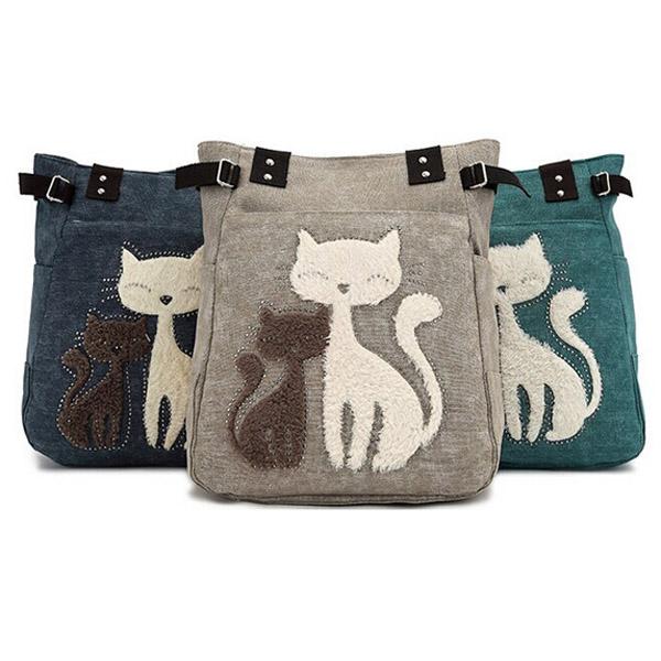Women Canvas Handbag Cute Cat Shoulder Bag Totes  9eb81c2186022