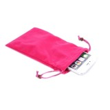 Universal Leisure Cotton Flock Cloth Carry Bag with Lanyard for iPhone 6 Plus / Samsung Galaxy Note 4 / Galaxy Mega 6.3 / i9200(Magenta)