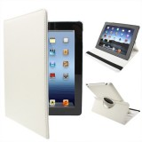 360 Degree Rotatable PU Leather Case with Sleep / Wake-up Function & Holder for New iPad (iPad 3) / iPad 2 / iPad 4, White(White)