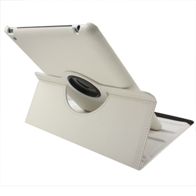 360 Degree Rotatable PU Leather Case with Sleep / Wake-up Function & Holder for New iPad (iPad 3) / iPad 2 / iPad 4, White(White)