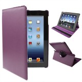 360 Degree Rotatable PU Leather Case with Sleep / Wake-up Function & Holder for New iPad (iPad 3) / iPad 2, Dark Purple