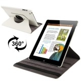 360 Degree Rotatable Leather Case with Sleep / Wake-up Function & Holder for New iPad (iPad 3), White(White)