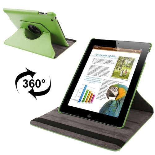 360 Degree Rotatable Leather Case with Sleep / Wake-up Function & Holder for New iPad (iPad 3), Green(Green)