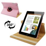 360 Degree Rotatable Leather Case with Sleep / Wake-up Function & Holder for New iPad (iPad 3), Pink(Pink)