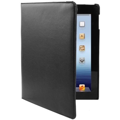 360 Degree Rotatable Leather Case with Sleep / Wake-up Function & Holder for New iPad (iPad 3), Black(Black)