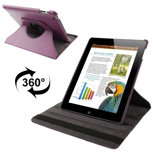 360 Degree Rotatable Leather Case with Sleep / Wake-up Function & Holder for New iPad (iPad 3), Purple(Purple)