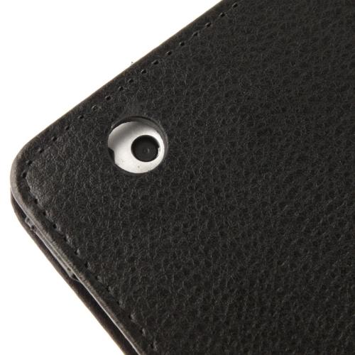 High Quality Litchi Texture Folding Leather with Sleep / Wake-up & Holder Function for iPad 2 / iPad 3 / iPad 4 (Black)