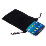 Universal Soft Flannel Carry Bag with Pearl Button for iPhone 6 / Samsung S IV / i9500 / i9300 / i9250 / i8750 / iPhone 5 / HTC One / ASUS PadFone2 / HTC G23 / Sony LT29i / Sony L36h / LG E960 / Sony M35h / LG P880 / LG E975 / Nokia Lumia 920 , Size: 15.5 x 9 cm(Black)