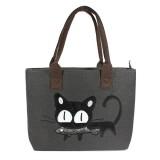 Ladies Casual Cute Cat Print Shopper Bag Lunch Bag Women Handbag