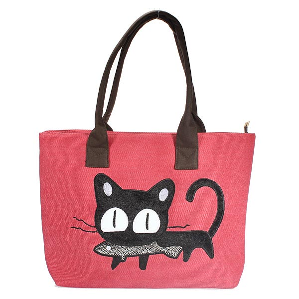 Ladies Casual Cute Cat Print Shopper Bag Lunch Bag Women Handbag