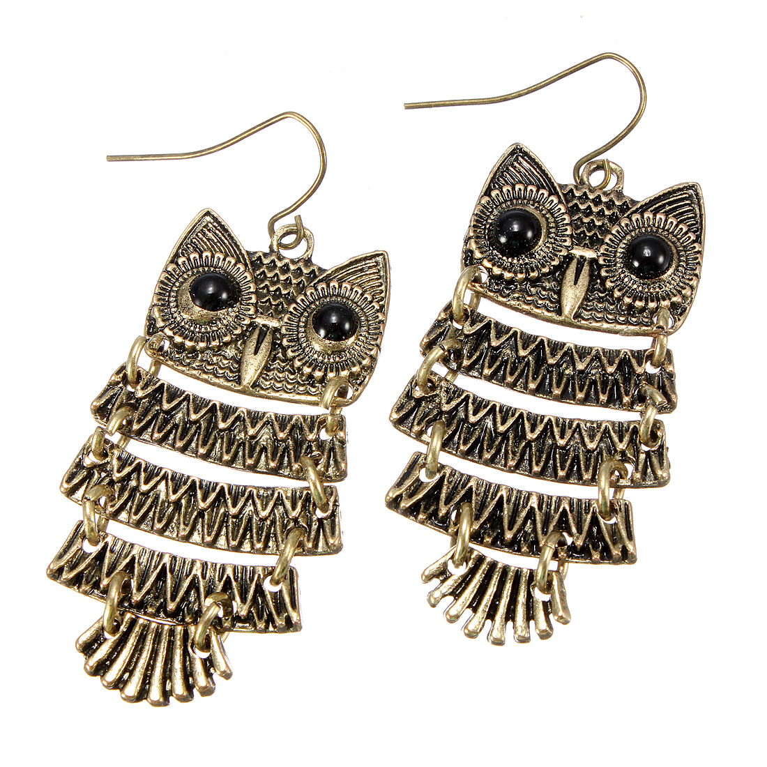 Retro Vintage Cute Owl Black Eyes Bronze Pendant Dangle Earring