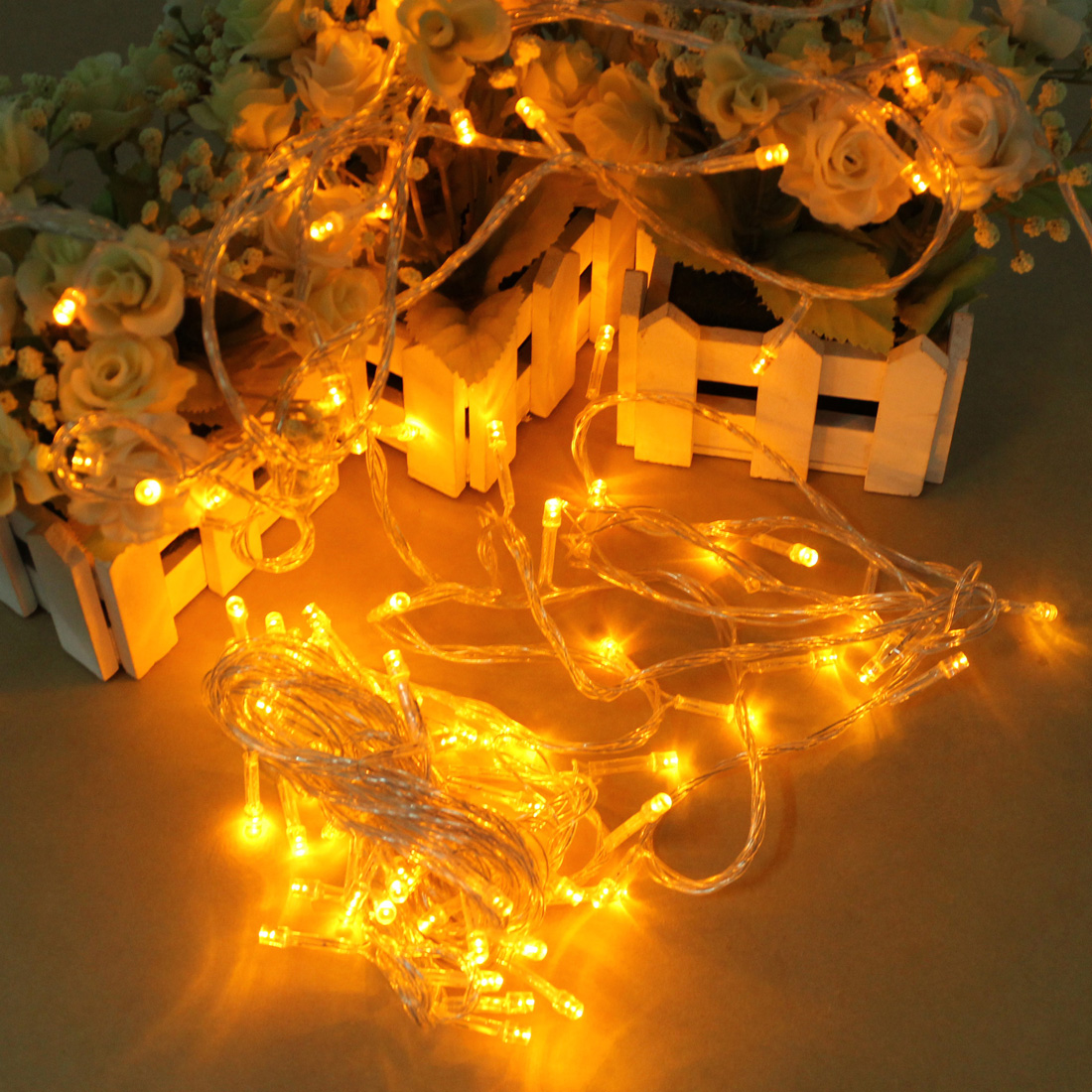 Led m yellow string decoration light for christmas