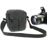 Portable Digital Camera Canvas Bag with Strap, Size: 13.5cm x 9cm x 14cm (Black)