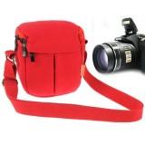 Portable Digital Camera Canvas Bag with Strap, Size: 13.5cm x 9cm x 14cm (Red)
