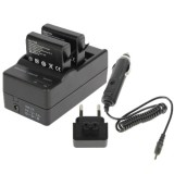 GoPro AHDBT-401 Digital Camera Double Battery Charger + Car Charger + Adapter for GoPro Hero 4
