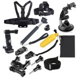 14 in 1 Head Strap + Chest Strap + Floating Handle Grip + Extendable Handle Monopod + Tripod Mount Adapter + Bike Handlebar Holder + Wrist Armband Strap + Suction Cup Mount Holder + 3-Way Adjustable Pivot Arm + Screws + Storage Pouch Set for GoPro HERO4 /3+ /3 /2 /1