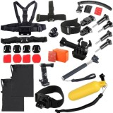 30 in 1 Chest Strap + Extension Arm + Tripod Mount Adapter + Head Strap + Floating Handle Grip + Extendable Handle Monopod + Helmet Belt Strap Lock Mount + Flat & Curved Mounts + Floaty Float Box + Helmet Strap Mount Adapter Set for GoPro HERO4 /3+ /3 /2 /1