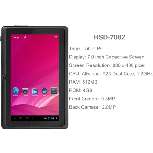 HSD-7082 Black, 7.0 inch Capacitive Screen Android 4.0 Tablet PC with WIFI, Dual Camera, 360 Degree Menu Rotate, 512MB RAM + 4GB ROM, CPU: Allwinner A23 Dual Core, 1.2GHz