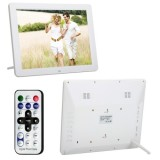 12.0 Inch LED Display Multi-media Digital Photo Frame with Holder / Music & Movie Player / Remote Control Function, Support USB / SD / TF / MMC / MS Card Input, Built in Stereo Speaker (White)