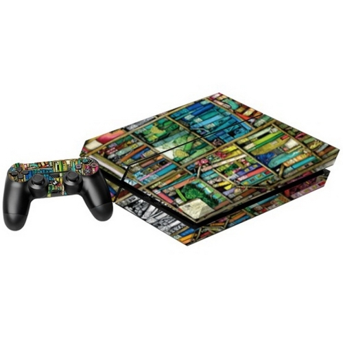 Bookshelf Pattern Decal Stickers for PS4 Game Console