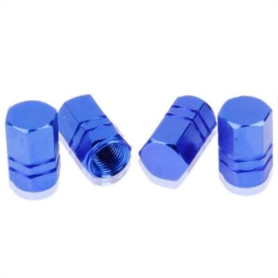 Blue Anodized Aluminum Tire Valve Stem Caps 4 Pcs