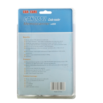 U480 CAN OBD2 / EOBD 2 Memo Scanner / Code Reader