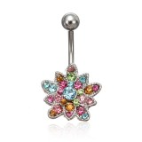 Crystal Flower Belly Button Piercing Navel Bar Body Jewelry