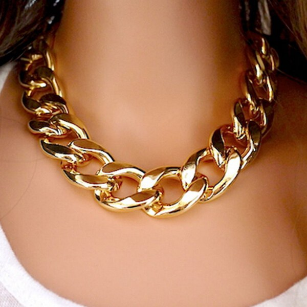 781b48f1197 Thick Gold Chain Collar Statement Necklace Bracelet Anklet Jewelry ·  SKU095572-3. ...