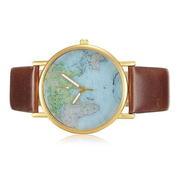 World Map Globe Leather Alloy Analog Quartz Wrist Watch