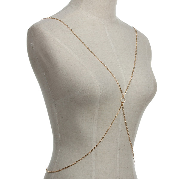 gold i other women metal thin fashion jewelry classic harness chain choker necklace body