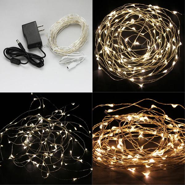 Warm White/White 10M 100LED Copper Wire LED String Lights Lamp 12V Alex NLD