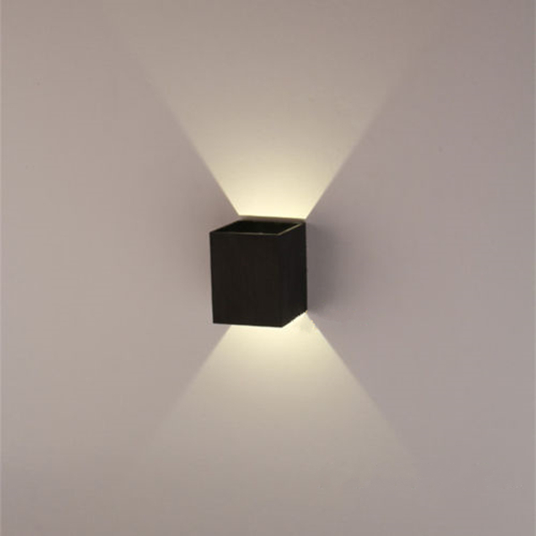 Square Light Fixtures: Modern 3W Black LED Square Wall Lamp Surface Install Light