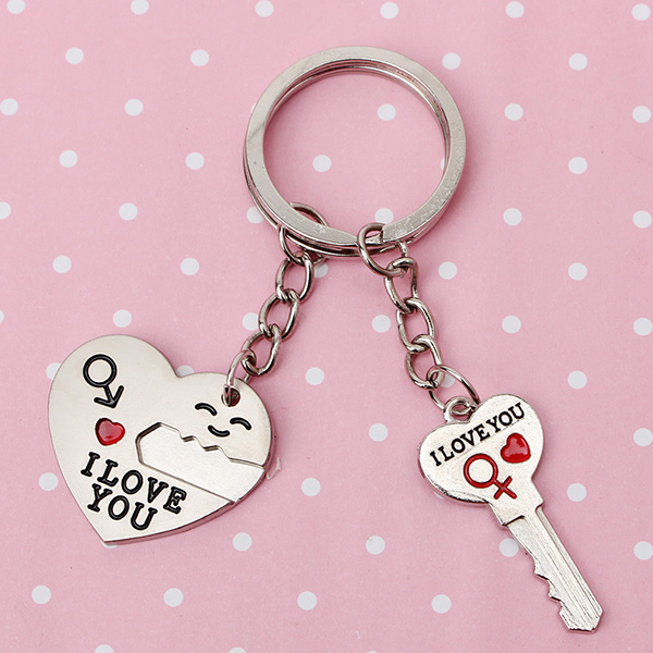 Lovers Arrow Heart Lock Key Couple Keychains Ring Gift