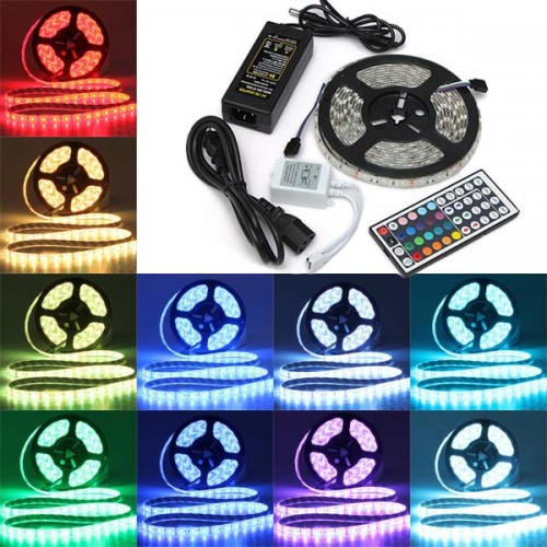 5M SMD 5050 RGB Waterproof 300 LED Strip Light 44 Key Controller 12V