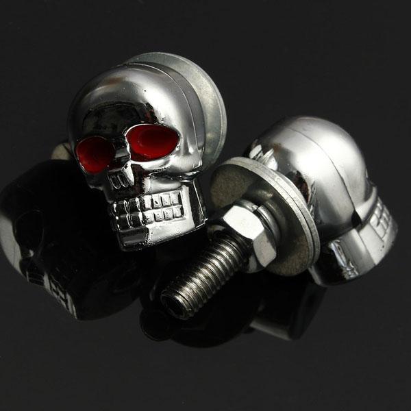 Motorcycle Quad ATV Turn Signal Rear Brake Tail Light Chrome Skull